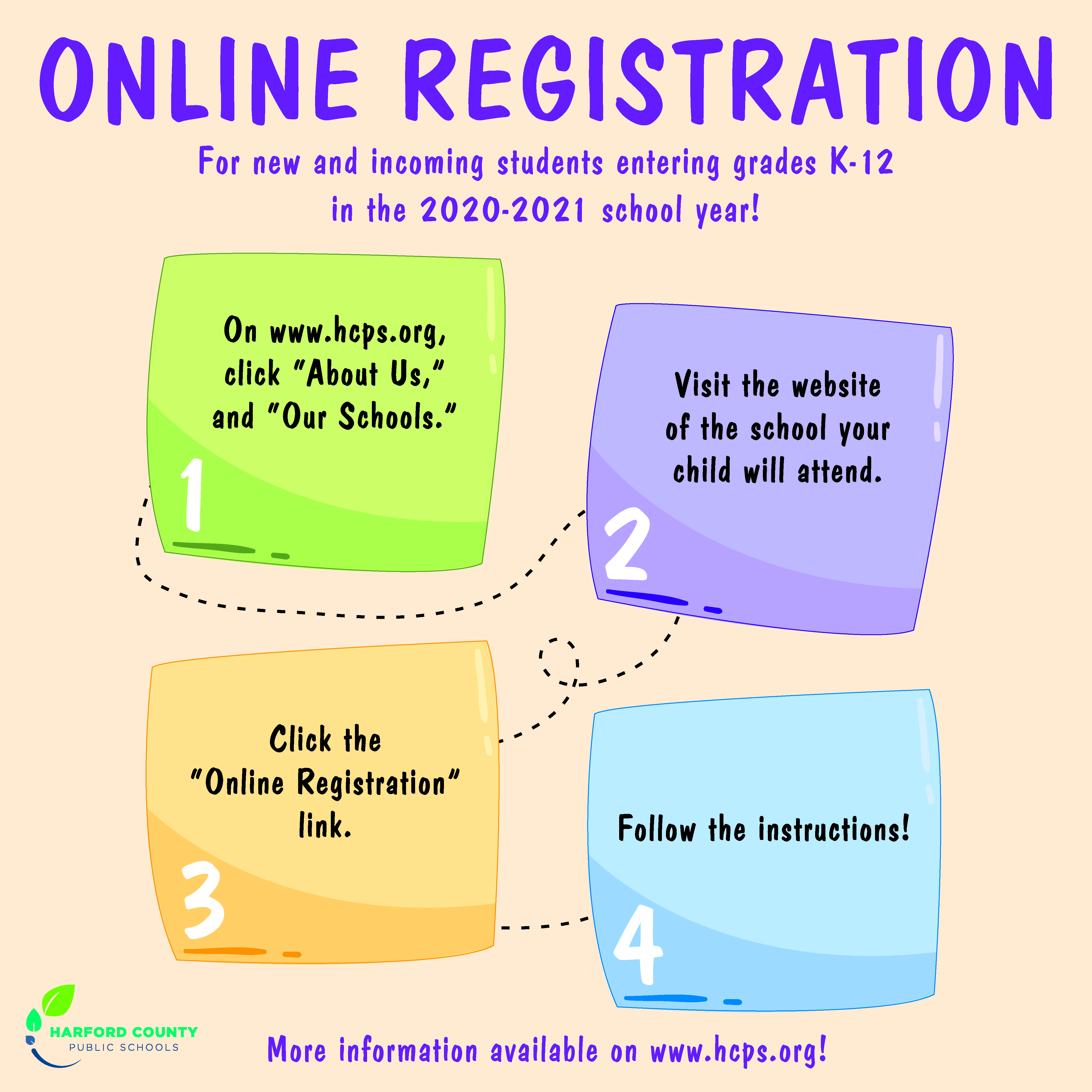 Online Registration. For new and incoming students entering grades K-12 in the 2020-2021 school year! 1. On www.hcps.org click About Us and Our Schools.  2. Visit the website of the school your child will attend.  3. Click the Online Registration link.  4. Follow the instructions.