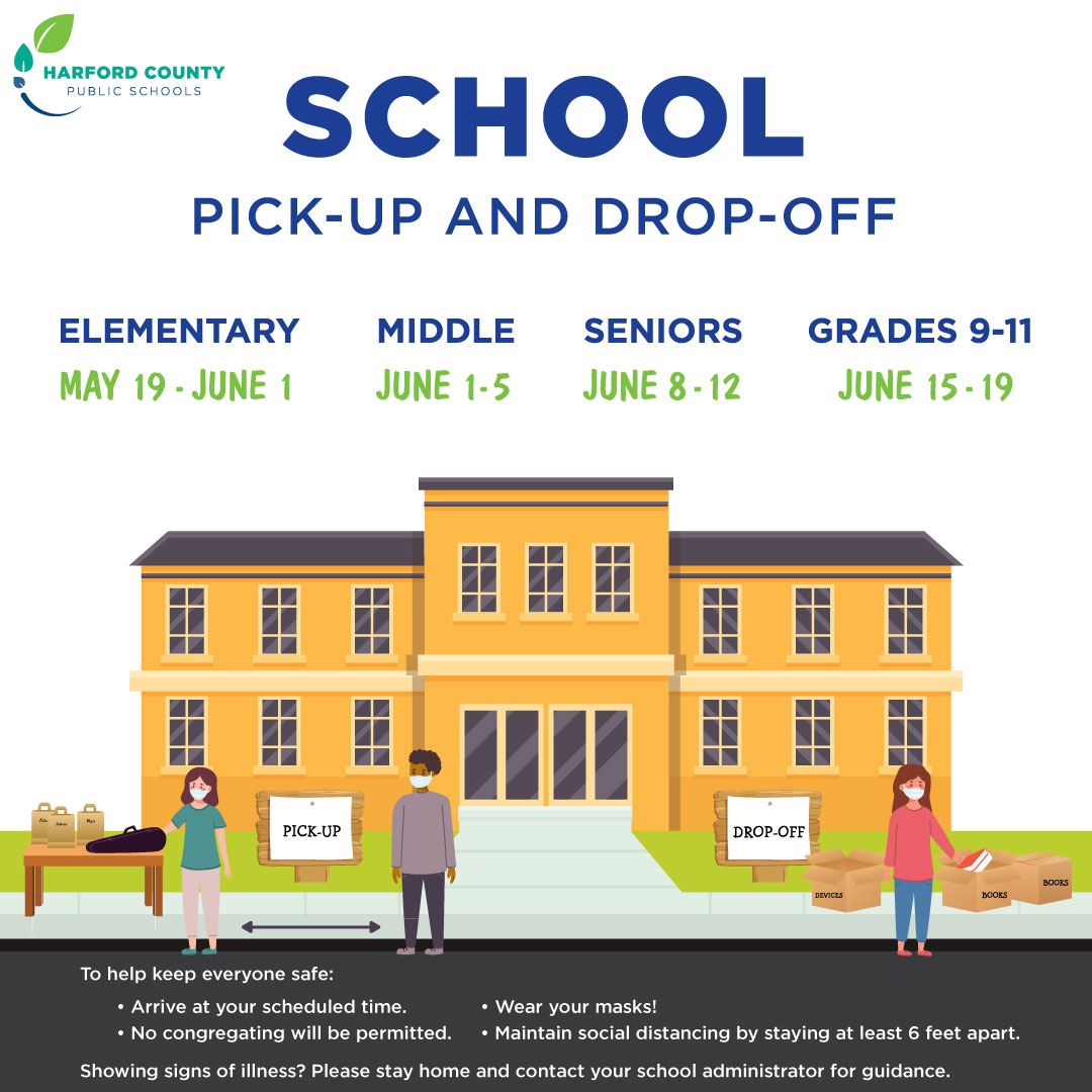 School Pick-Up and Drop-Off.  Elementary May 19 - June 1.  Middle June 1 - 5. Seniors June 8 - 12. Grades 9 - 11 June 15 - 19. To help keep everyone safe: Arrive at your scheduled time. No congregating will be permitted.  Wear your masks!  Maintain social distancing by staying at least 6 feet apart.  Showing signs of illness?  Please stay home and contact your school administrator for guidance.