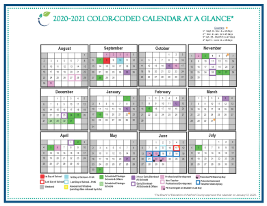 2020-2021 HCPS Calendar Approved by Board of Education